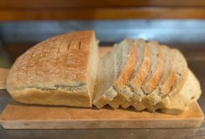 Galapagos restaurants: Home-made bread served for breakfast at La Peregrina B&B.